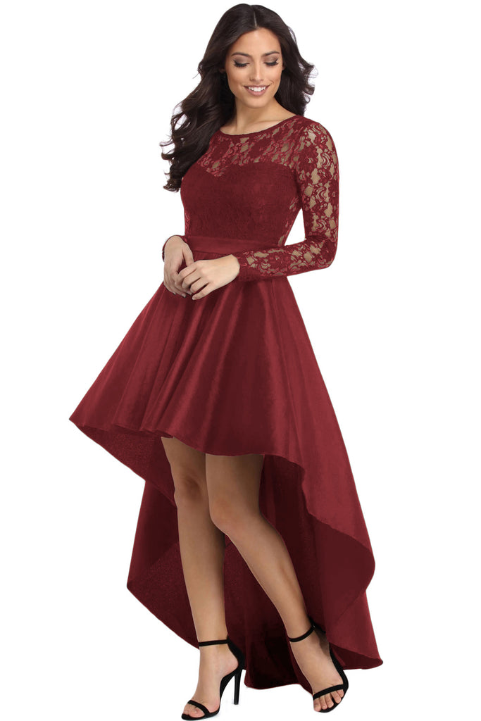 d3838de9f1a1 Buy Burgundy Lace High Low Prom Dress Online India - Boldgal.com