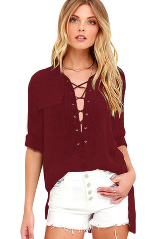 Red Fashion Lace-up Blouse Shirt Top - Boldgal.com
