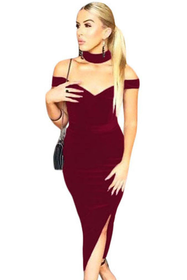 Buy Maroon Trendy Off Shoulder Midi Dress Online India - Boldgal.com 3a52f4404