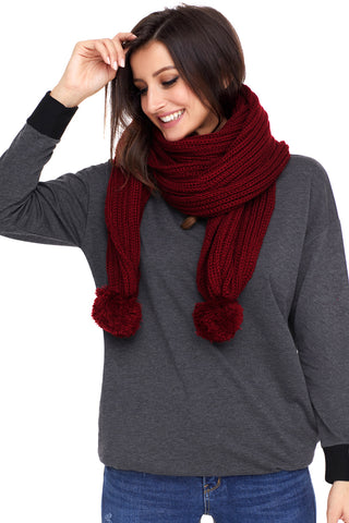 Burgundy Ribbed Knit Long Scarf