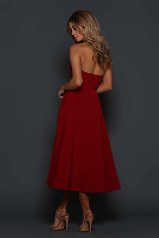 Burgundy Cupped Strapless Sleeveless Dress