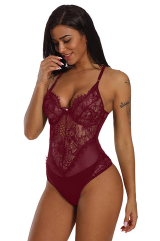 Burgundy Lace Deep Neck Teddy Lingerie