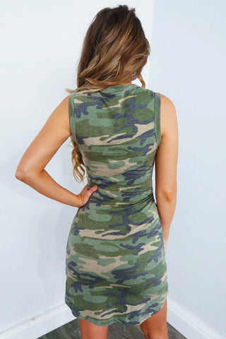Green Camouflage Print Front Knot Short Dress
