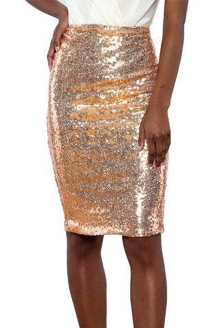 Gold Crushed Sequin Glitter Midi Skirt