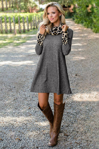 Grey Leopard Print High Neck Short Dress