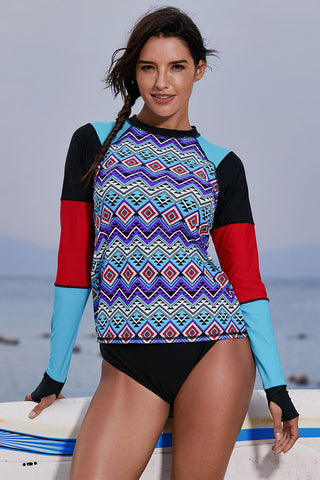Multicolor Coloblock Long Sleeve Beach Top