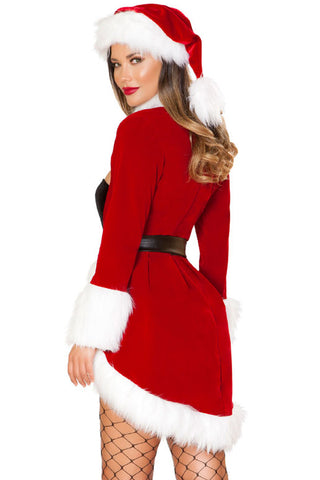 Red Fur Trim Queen Christmas Costume