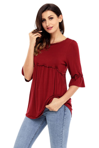 Red Half Sleeves Tunic Top