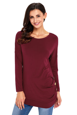 Maroon Side Buttoned Long Sleeves Top