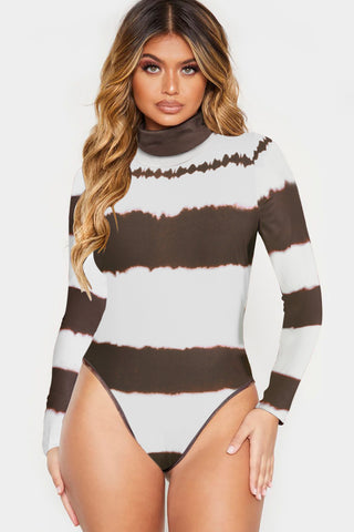 White & Brown Color Block High Neck Bodysuit