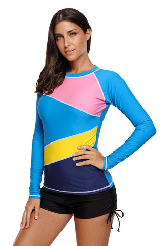 Blue Rashguard Long Sleeves Beach Top