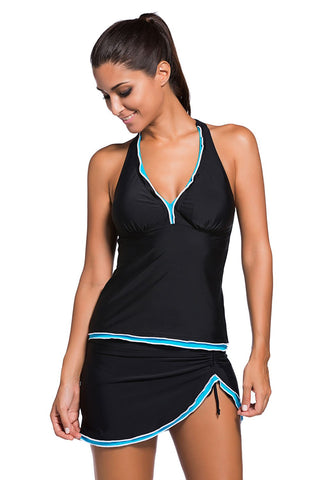 Blue Trim Black Halter Tank Short Set