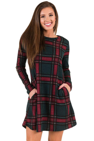 Green Elbow Patch Plaid Swing Dress