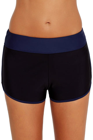Blue Trim Black Swim Shorts