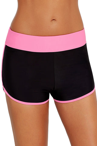 Pink Trim Black Swim Shorts