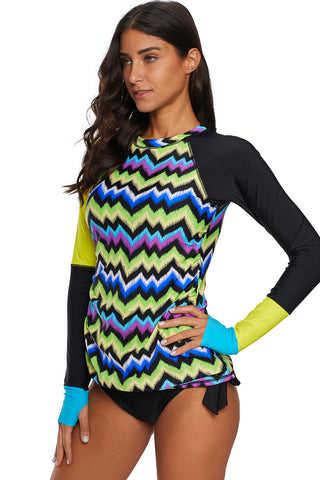 Yellow Contrast Print Long Sleeve Tankini Swimsuit
