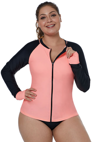 Coral Long Sleeves Rashguard Beach Top