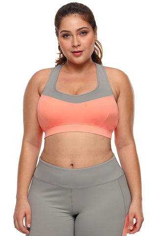 Coral Crossed Grey Sports Bra