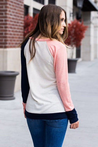 Coral White Splice Navy Long Sleeves Top