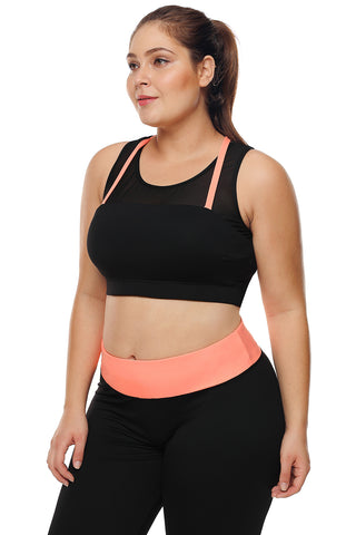Black Coral Strap Crop Yoga Bra