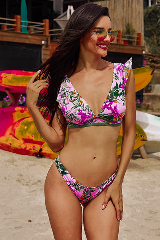 Pink Floral Deep Neck Bikini Set