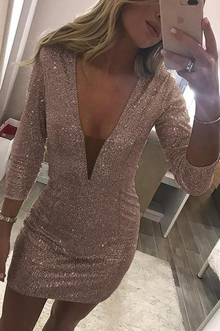 Beige 3/4 Sleeves Sequin Deep Neck Dress