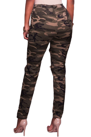 Army Green Print Destroyed Pant