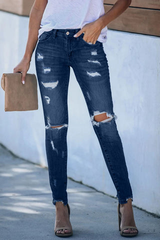 Blue Frayed Skinny Distressed Jeans