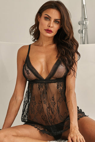 Black Deep Neck Lace Eyelash Babydoll