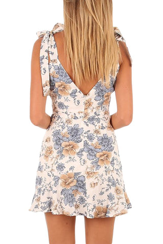 White Leaf Print Tie Shoulder Dress