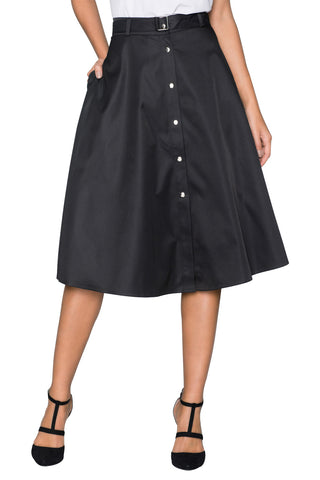 Black Retro Style Flared Midi Skirt