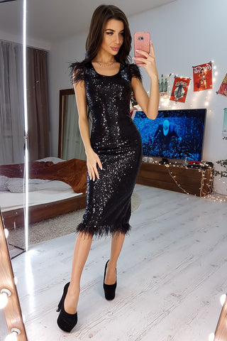 Black Sequin Elegant Sleeveless Knee Length Dress