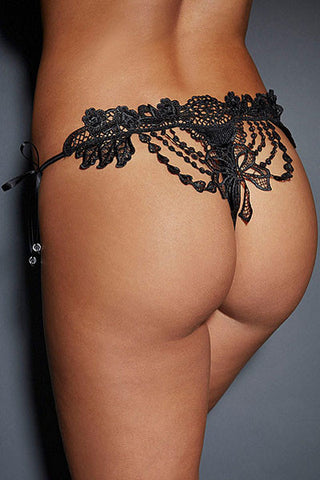 Black Embroidered Lady Lace G-string