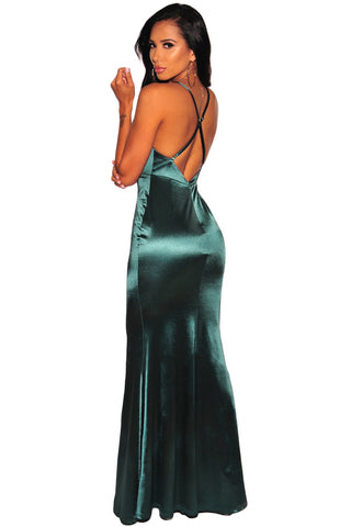 Emerald Green Crisscross Slit Evening Gown