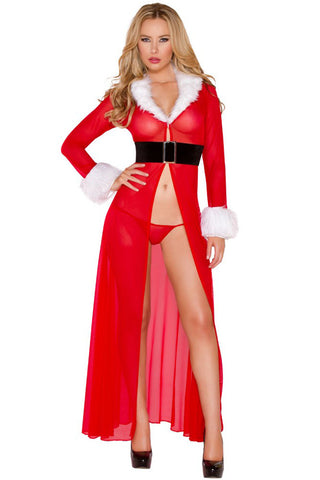 Red Miss Claus Robe G-String Costume