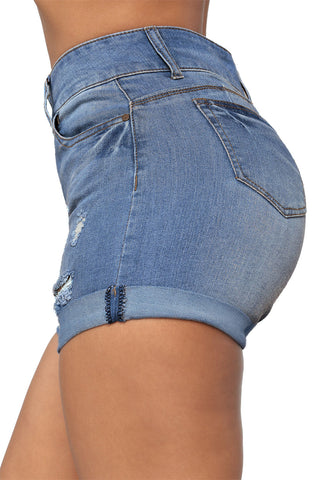 Blue Faded Ultrashort Denim Shorts