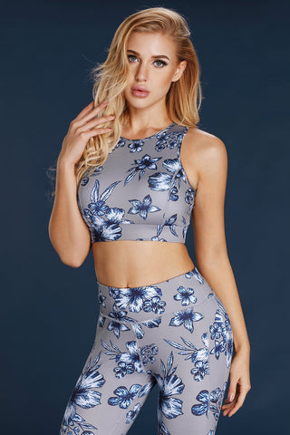 Grey Floral Print High Neck Sports Bra