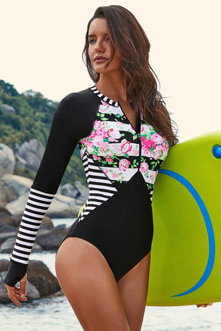 Black Floral Striped Print One Piece Swim Suit