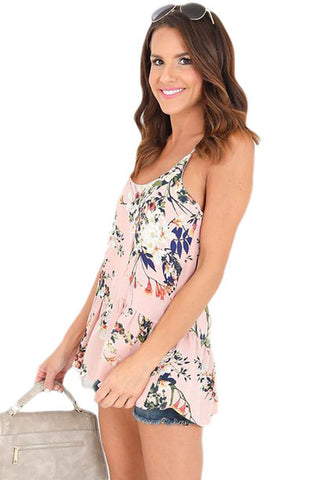 Light Pink Floral Flounced Camisole