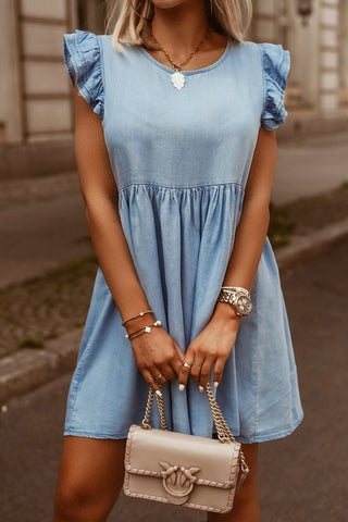 Blue Ruched Flutter Sleeve Short Dress