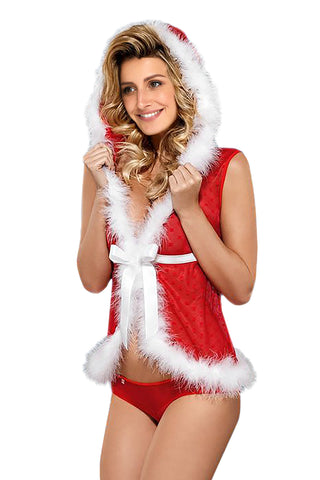 Red Christmas Fur Hooded Costume
