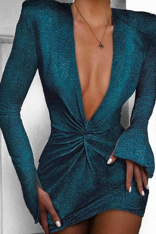 Turquoise Sequin Plunge Deep Neck Dress
