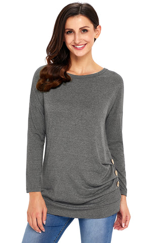 Grey Side Buttoned Long Sleeves Top