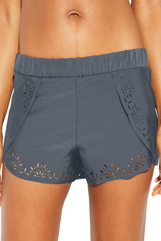Grey Laser Cut Swim Shorts