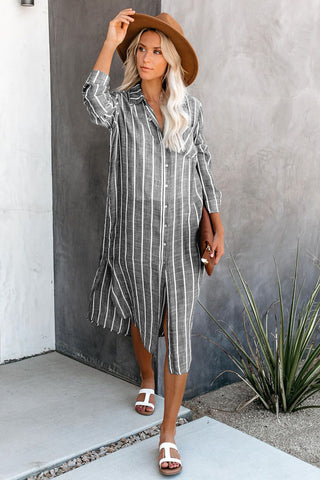 Grey Collar Neck Stripes Shirt Beach Dress