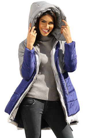 Grey Navy Colorblock Quilted Hoodie Style Jacket