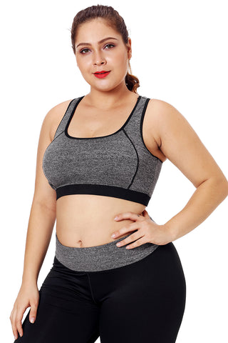 Grey Piping Trim Workout Sports Bra