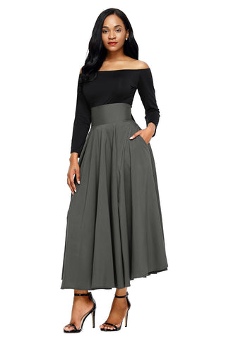 Grey High Waist Pleated Belted Long Skirt