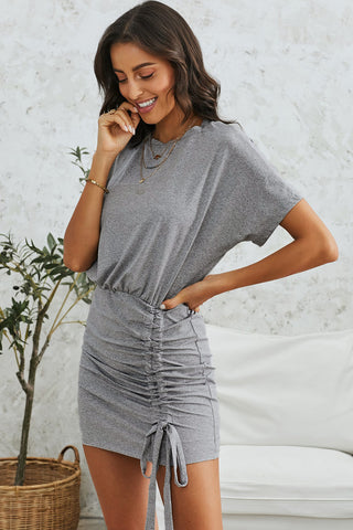Grey Ruched Short Sleeves Short Dress