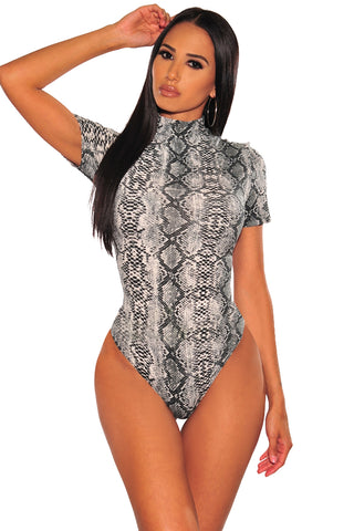 Grey High Neck Snake Print Bodysuit
